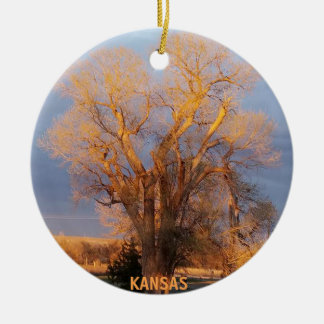 Golden Kansas Cottonwood Tree Ceramic Ornament