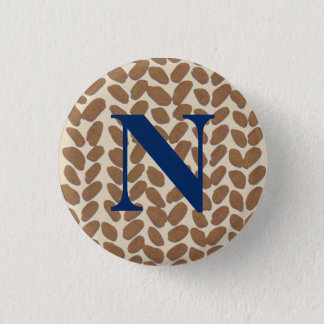 Golden Knitting Initial Badge 1 Inch Round Button