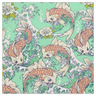 Golden Koi Fish Fabric