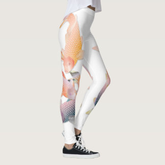 Golden Koi Fish Swimming #2 Leggings