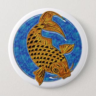Golden Koi in Blue Glass Pond 4 Inch Round Button