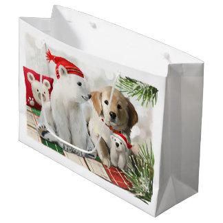Golden Labrador and the polar bear Large Gift Bag