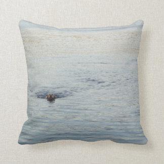 Golden Labrador in the Lake Throw Pillow
