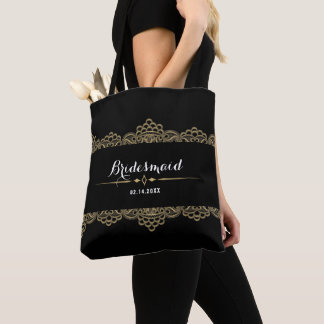 Golden Lace Wedding Tote Bag