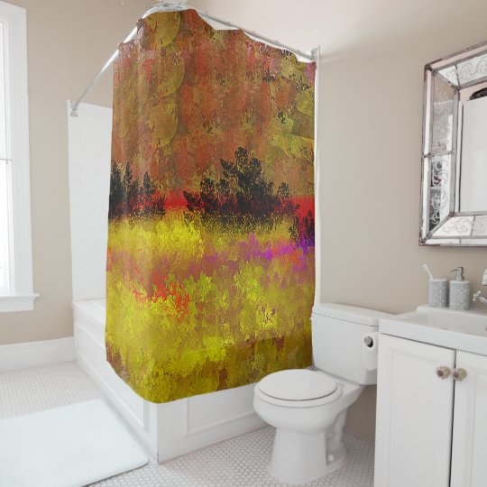 Golden Landscape with Red, Purple Shower Curtain