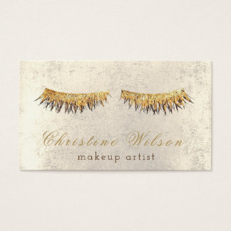 golden lashes makeup artist business card