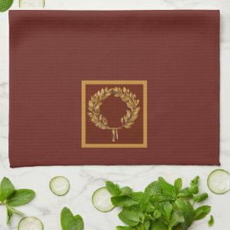 Golden Laurel Wreath Kitchen Towel