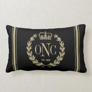 Golden Laurel Wreath Monogrammed Logo Pillow