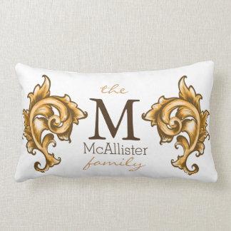 Golden Laurels Family Name Custom Lumbar Pillow