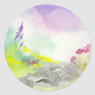 Golden Lavender Wildflower Landscape Painting Classic Round Sticker