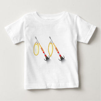 Golden leaf and oval shape design spinner fishing baby T-Shirt