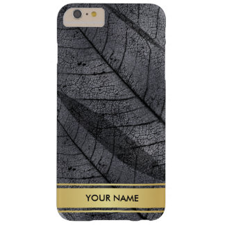 Golden Leaf Black Gray Glam Vip Minimimalism Barely There iPhone 6 Plus Case