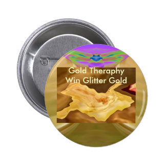 Golden Leaf -  Gold Color Therapy Art 2 Inch Round Button