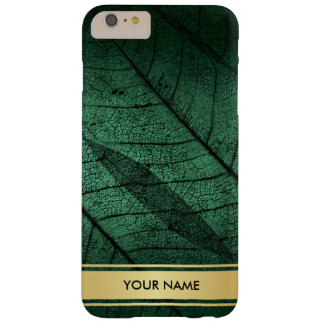 Golden Leaf Green Aquatic Glam Minimimalism Barely There iPhone 6 Plus Case