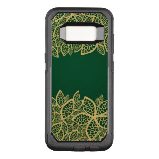 Golden leaf lace on green background OtterBox commuter samsung galaxy s8 case
