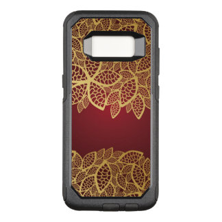 Golden leaf lace on red background OtterBox commuter samsung galaxy s8 case