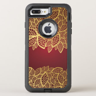 Golden leaf lace on red background OtterBox defender iPhone 7 plus case