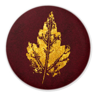 Golden Leaf on Burgundy - cabinet knob Ceramic Knob