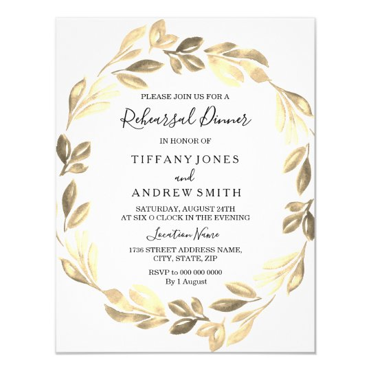 Golden Leaf Wreath Elegant Rehearsal Dinner Card