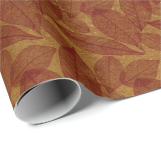 Golden Leafs Crimson Red Maroon Burgundy Botanical Wrapping Paper