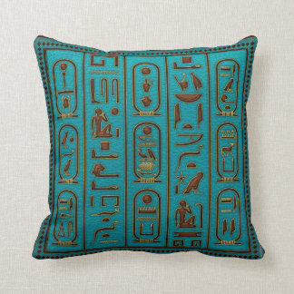 Golden Leather hieroglyphs embossed on teal Throw Pillow