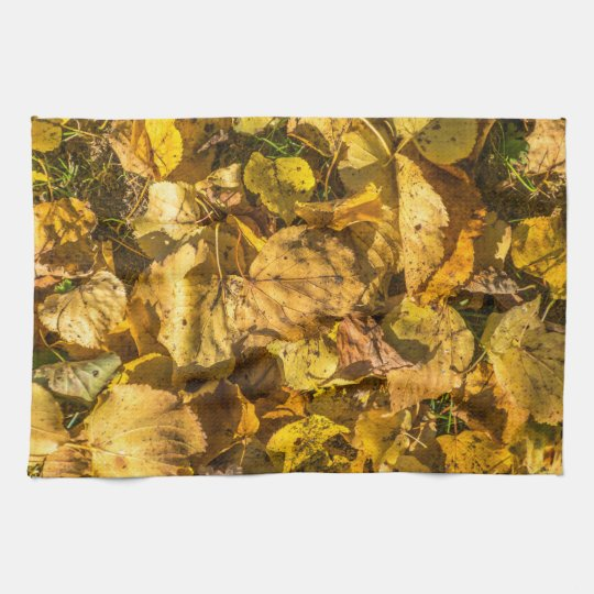 Golden leaves kitchen towel