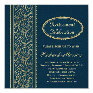 "Golden leaves on dark blue Retirement Party 5.25"" Square Invitation Card"