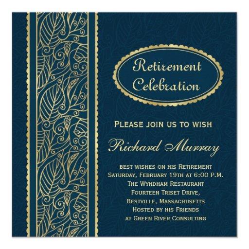 Golden leaves on dark blue Retirement Party Custom Invitations