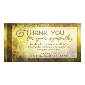 Golden Leaves Thank You Custom Sympathy Card Photo Card Template