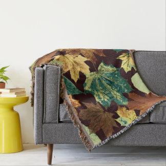 Golden Leaves Throw Blanket