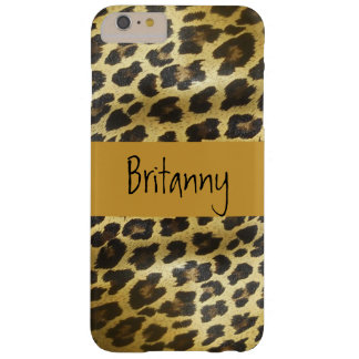 Golden Leopard Fur Animal Print with Name Barely There iPhone 6 Plus Case