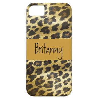 Golden Leopard Fur Animal Print with Name iPhone 5 Covers