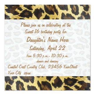 Golden Leopard Print 16th Birthday Card