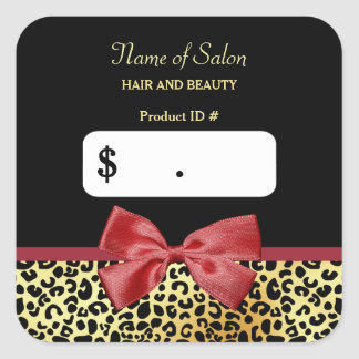Golden Leopard Print With Red Bow Salon Price Tags Square Sticker