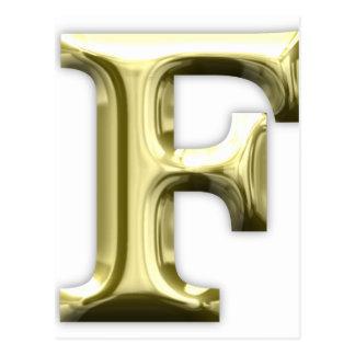 Golden Letter F Shiny Gold Alphabet Postcard