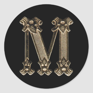 Golden Letter M Initial or Monogram on Black Classic Round Sticker