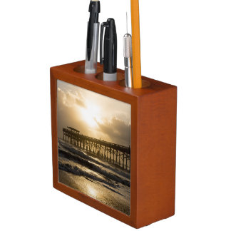 Golden Light Over Cocoa Desk Organizer