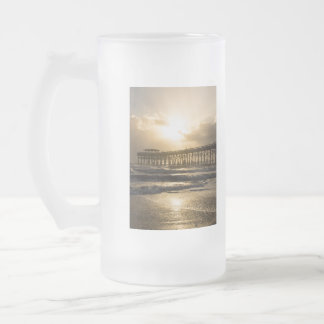 Golden Light Over Cocoa Frosted Glass Beer Mug