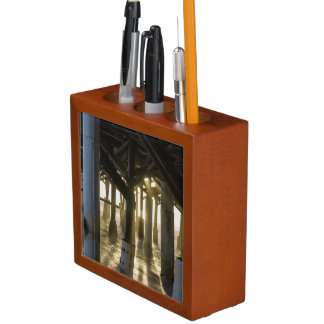 Golden Light Shines Through Desk Organizer