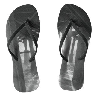 Golden Light Shines Through Grayscale Flip Flops