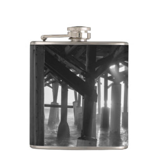 Golden Light Shines Through Grayscale Hip Flask