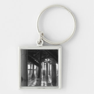 Golden Light Shines Through Grayscale Keychain