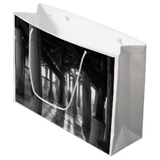 Golden Light Shines Through Grayscale Large Gift Bag