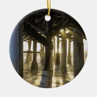 Golden Light Shines Through Round Ceramic Ornament