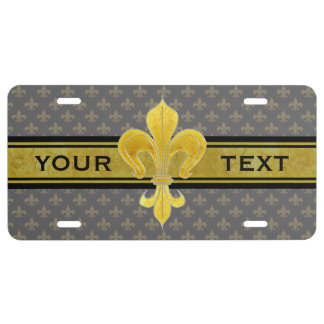 Golden Lily + your text & background License Plate