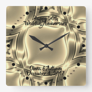 Golden Lines 50th Wedding Anniversary Square Wall Clock