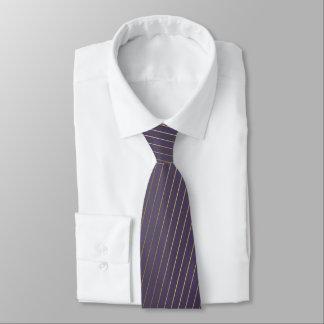 Golden lines on purple background striped tie