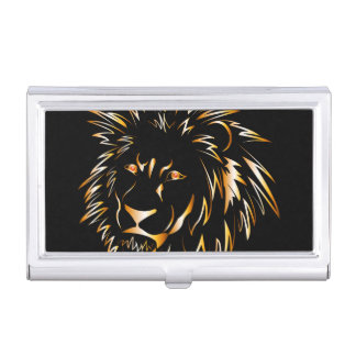 Golden lion business card holder