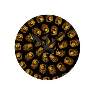 Golden Lion Head Abstract Pattern, Round Clock