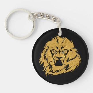 Golden Lion Head Keychain